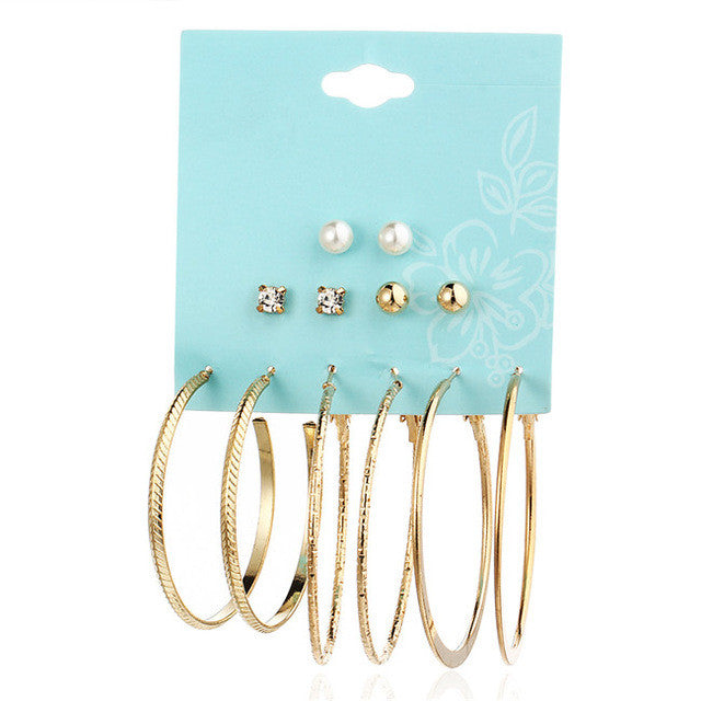 17KM Simulated Pearl Clip Cuff Earring Set For Women Vintage Punk Gold Silver Color Crystal Earrings Party Jewelry 6 Pairs/Set