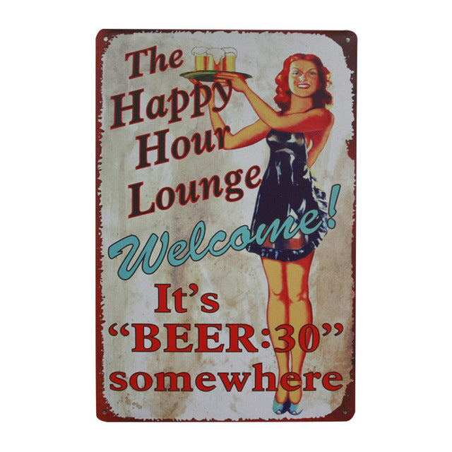 Plaque Beer Vintage Metal Tin Sign Wall Sticker Decoration In Beer Bar Home Wall Decor ART Poster Plate For Pub Coffee 30x20cm