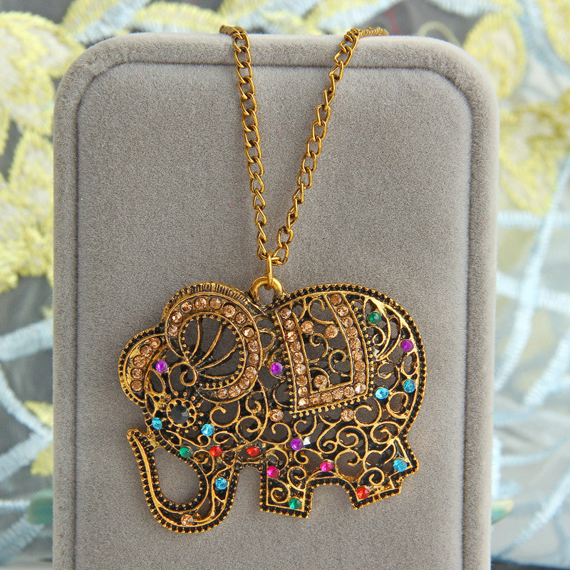 ZOSHI Bohemian Red Crystal Elephant Pendants Necklaces for Women Vintage Statement Maxi Necklace Choker Femme Long Sweater Chain
