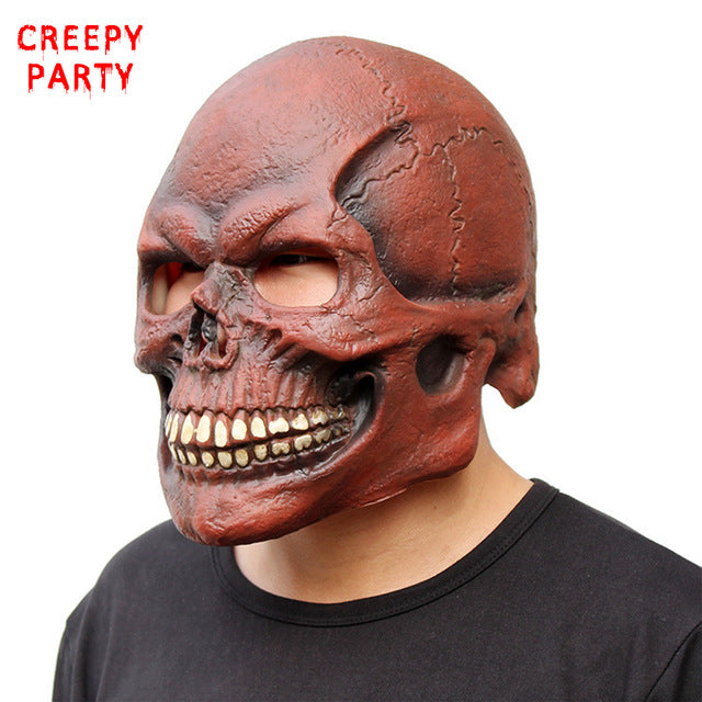 Realistic Scary Halloween Masks.Scary Skull Mask Full Head Realistic Latex Party Mask Horror Halloween Mask Cosplay Toy Props