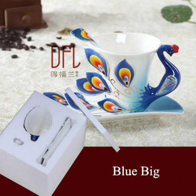 Enamel Peacock Coffee Mug Tea Cup Set Bone China Mugs and Cups Creative Drinkware CLEARANCE SALE!