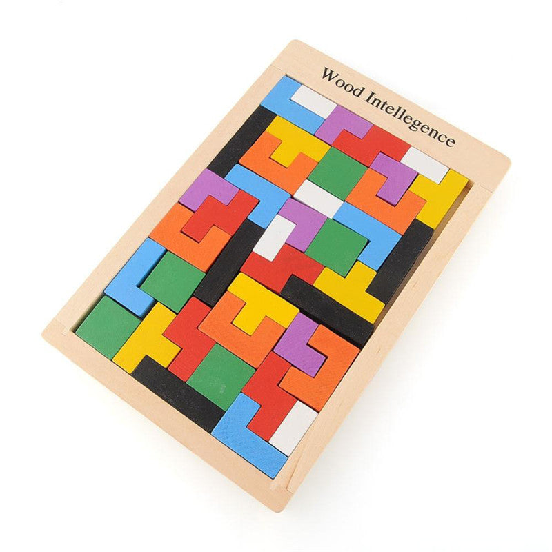 Colorful Wooden Tangram Brain Teaser Puzzle Toys Tetris Game Preschool Magination Intellectual Educational Kid Toy Children Gift