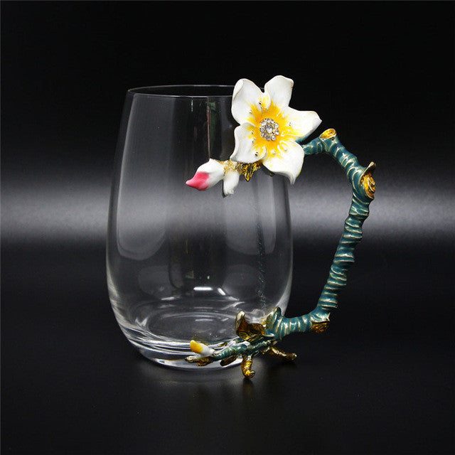 KEYTREND Brand Glass Mugs Luxury Drinking Cups with Flower Color Enamel Alloy Handgrip Design, Tall and Short Cups Sizes AECL092
