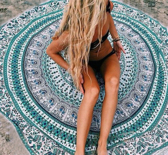 round Indian Mandala cotton printed throw roundie beach shawl suncreen shawls yoga mat tablecloth home decor YOUNGER STORE YG055