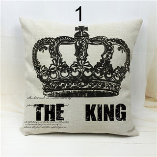 """Square Linen Crown Cushion Cover Printed Letters The Queen The King Decorative Sofa Pillow Case Home Car Decor Free Shipping"