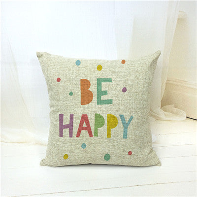 Cotton Linen Be Happy Colorful English Letters Alphabet Printed Cushions Cover Coffee House Waist Emoji Pillow Case Cojines