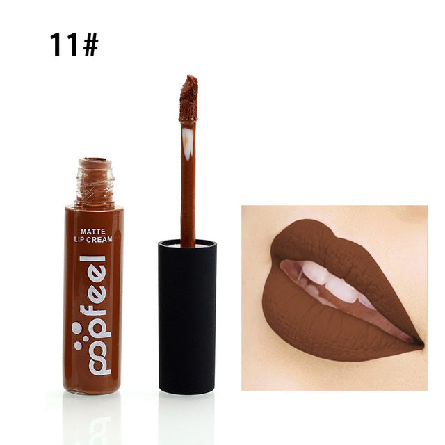 2017 Brand Makeup Waterproof batom Tint Lip Gloss Red Brown Nude Long Lasting Hot Popfeel Brand Liquid Matte Makeup Lipstick