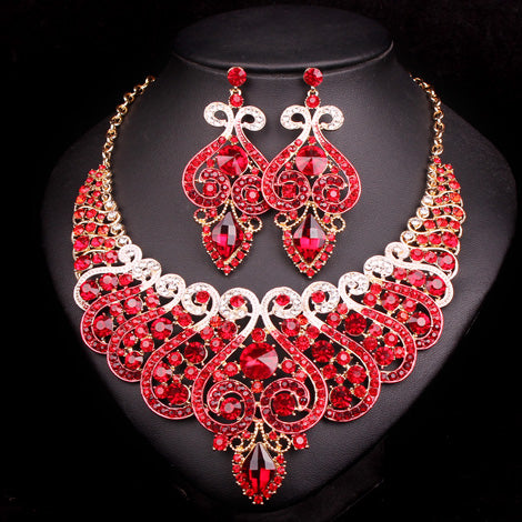 Fashion Bridal Jewelry Sets Wedding Necklace Earring for Bride Party Costume Accessories Indian Jewellery Sets Decorations Women