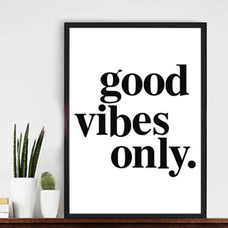"""good vibes only"" Canvas Paintings Black White Quotes Nursery Wall Art Poster Print Pictures for Kids Room Home Decor Unframed"