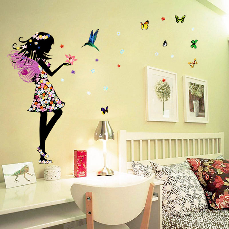 Free shipping Beautiful Butterfly Elf Arts Wall Sticker For Kids Rooms Home Decor Backdrop Wall Decal Baby Bedroom Vinyl Walls S