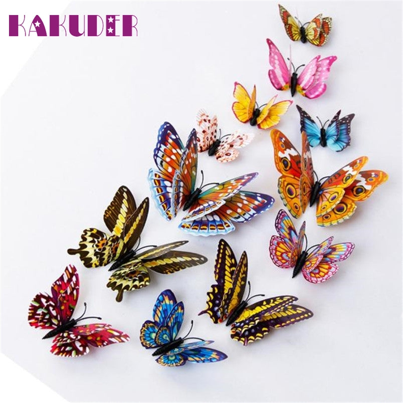 Kakuder vinilos decorativos para 12pcs 3D Wall Stickers Double Layer Luminous Butterflies Colorful Home decor #10 2017 Gift Drop
