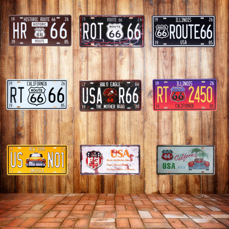 USA Vintage Metal Tin Signs Route 66 Car Number License Plate Plaque Poster Bar Club Wall Garage Home Decoration 15*30cm A133