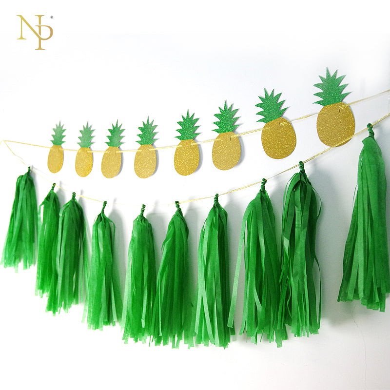 Nicro Gold & Green Glitter Pineapple Garland DIY Party 8 Pc Pineapple&10Pc Green Tassel Garland Gold Glitter Pineapple Decor