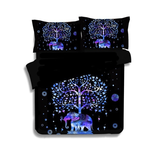 2017 Elephant 3Pcs 3D  Sham Boho bedding sets Mandala duvet cover set winter Pillowcase queen king size Bedlinen sj56
