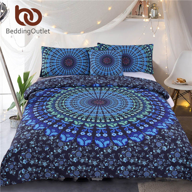 BeddingOutlet Mandala Bedding Set Bohemia Blue Duvet Cover Set Luxury Plain Twill Home Textiles Twin Full Queen King 4Pcs Hot