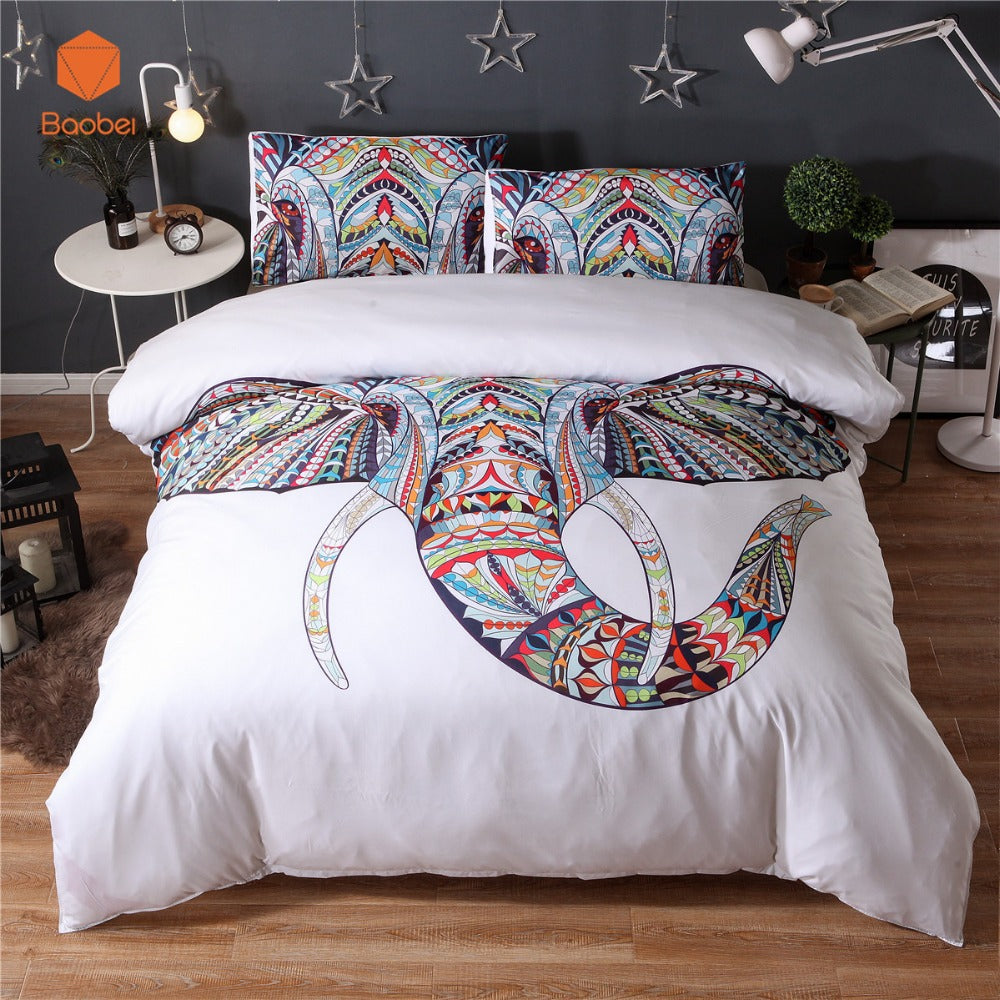 New  TreeElephant Head 3Pcs/2Pcs 3D bedding sets Mandala duvet cover set Summer spring Pillowcase queen king size Bedlinen sj59