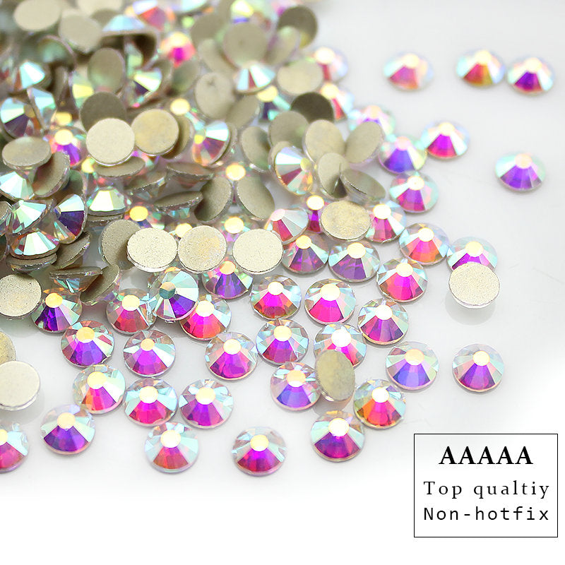 Top quality AAAAA shiny SS3-SS30 Crystal AB flatback rhinestone Iron non- Hotfix glue on Strass Shiny More Bright