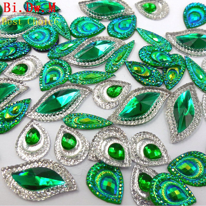 Dazzling Green AB Multicolor HandSewn Rhinestone Mix For Crafts Stones and Crystals Strass Crystal Sew-on Costumes Sewing Charms
