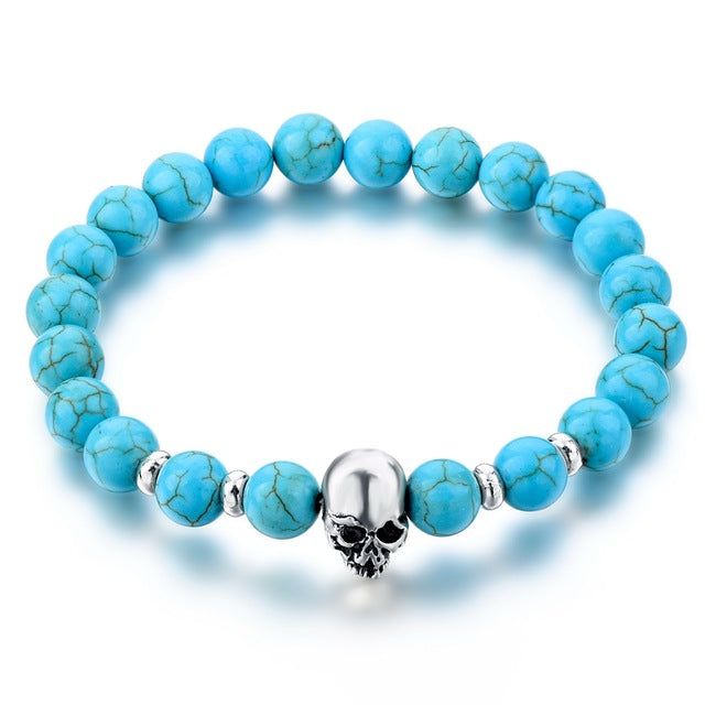 Newest 8mm Natural Stone Skull Bracelets & Bangles For Couples Lava Beads Elastic Bracelets Unisex Jewelry Accessories SBR160031