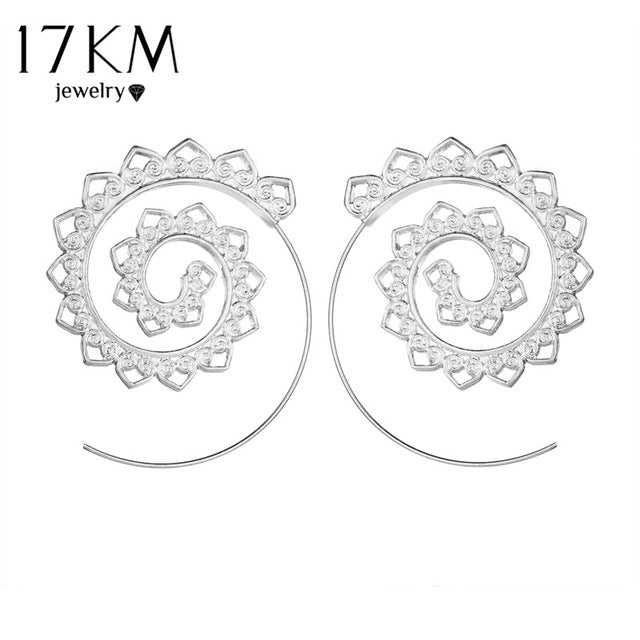 17KM 2 Color Geometric Swirl Hoop Earring for Women Brincos 2017 Steampunk Style Women Party Jewelry Accessories Ethnic Jewelry