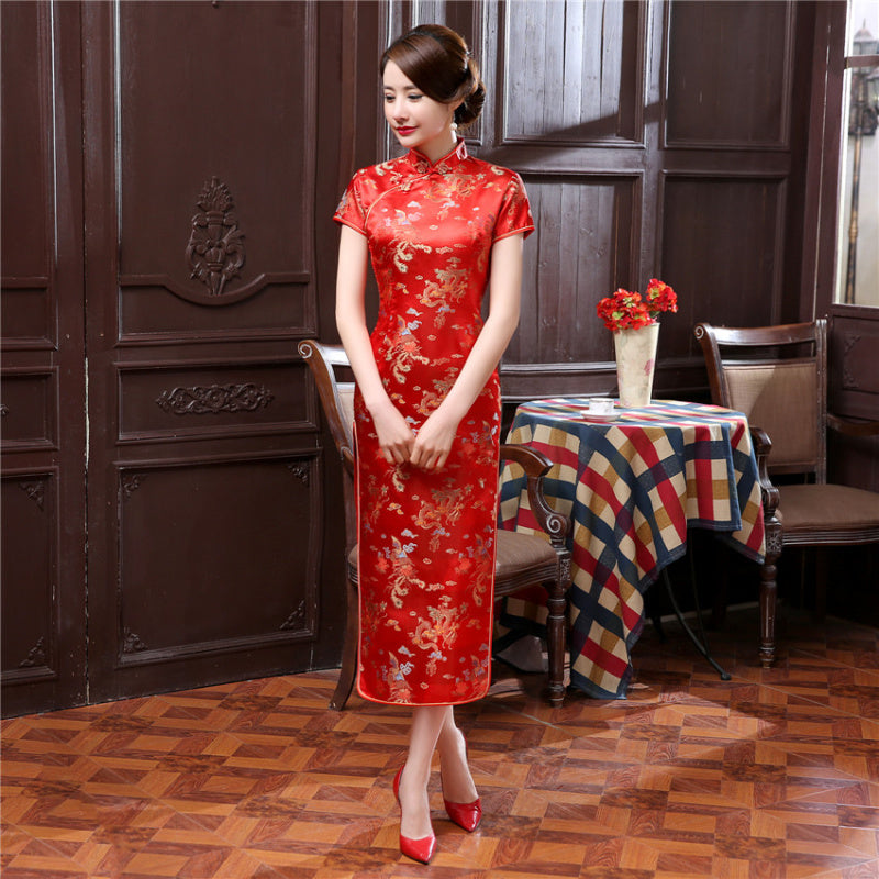 98d347a4dec 14 Color Womens Satin Long Cheongsam Qipao Traditional Chinese Dress P –  ShopNowBeforeYouDie.com