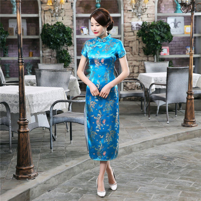 14 Color Womens Satin Long Cheongsam Qipao Traditional Chinese Dress Plus Size S M L XL XXL XXXL 4XL 5XL 6XL Mujeres Vestido