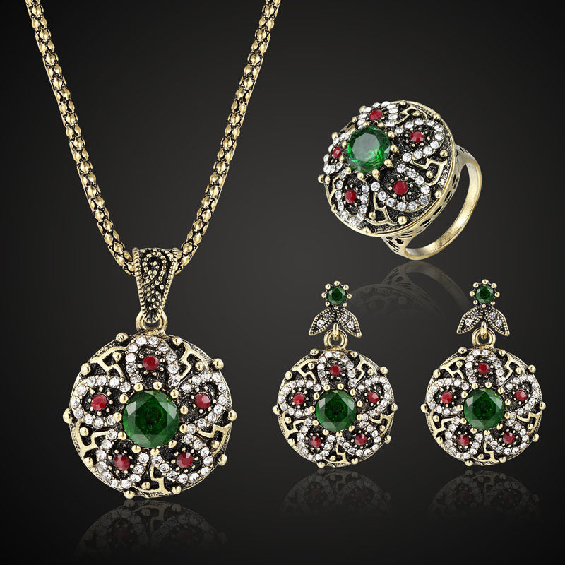 colorful Turkish Jewelry Sets Fashion Women Vintage Necklace Earring Rings Jewellery sets Brand Indian Accessories For Women Set