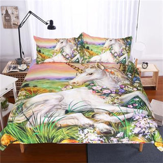 3D Printed Unicorn Plants Flowers Duvet Cover Set Mandala Beauty Animal Bedclothes Pillowcase Sets 3 Pieces Bed Linens Drop Ship