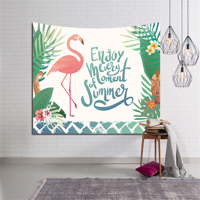 Flamingo Home Fashion Wall Tapestry Wearable Beach Shawl Yoga Mats Blankets Indian Mandala Tapestry  Bohemian Bedspread Wall Art