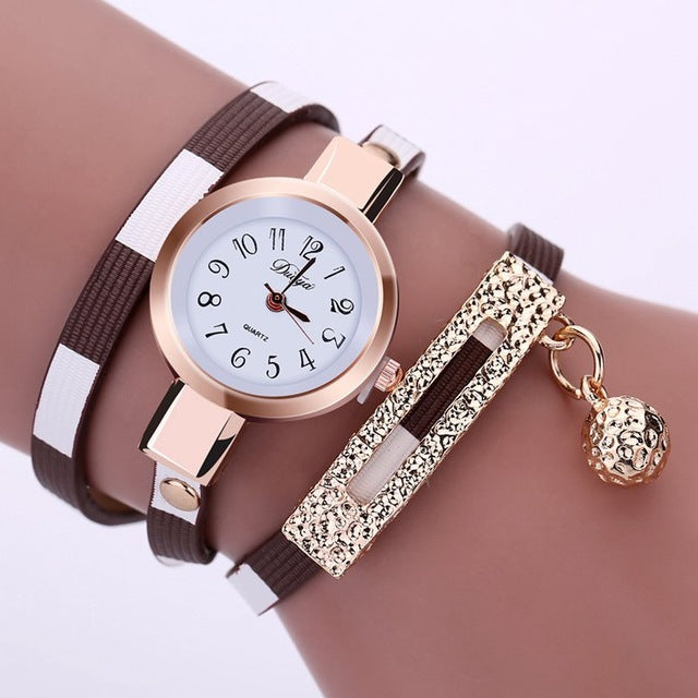 2017 New Fashion Women Watches Leather Pendant Bracelet Ladies Watch Women Clock relogio feminino relojes mujer