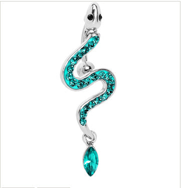 Blue Crystal Snake medical anti-allergic 316 steel belly piercing ring navel bar belly button rings body piercing Jewelry