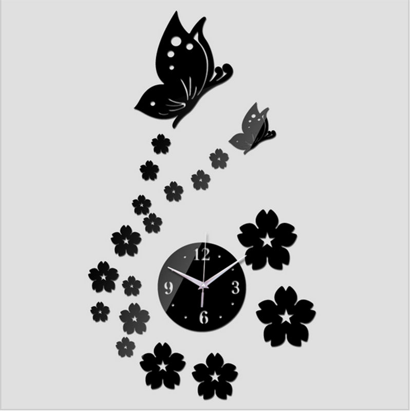 2017 new hot wall sticker home decoration diy acrylic mirror Butterfly wall clocks watch relojes de pared quartz needle modern