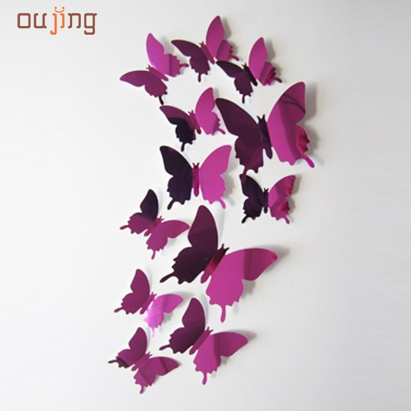 Mosunx Business 2016 Hot Selling Wall Stickers Decal Butterflies 3D Mirror Wall Art Home Decors
