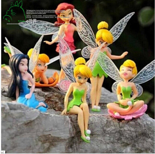 6pcs/Set Christmas, Halloween Kids Gift Tinkerbell Dolls Flying Flower Fairy Children Animation Educational Cartoon Toys BabyToy