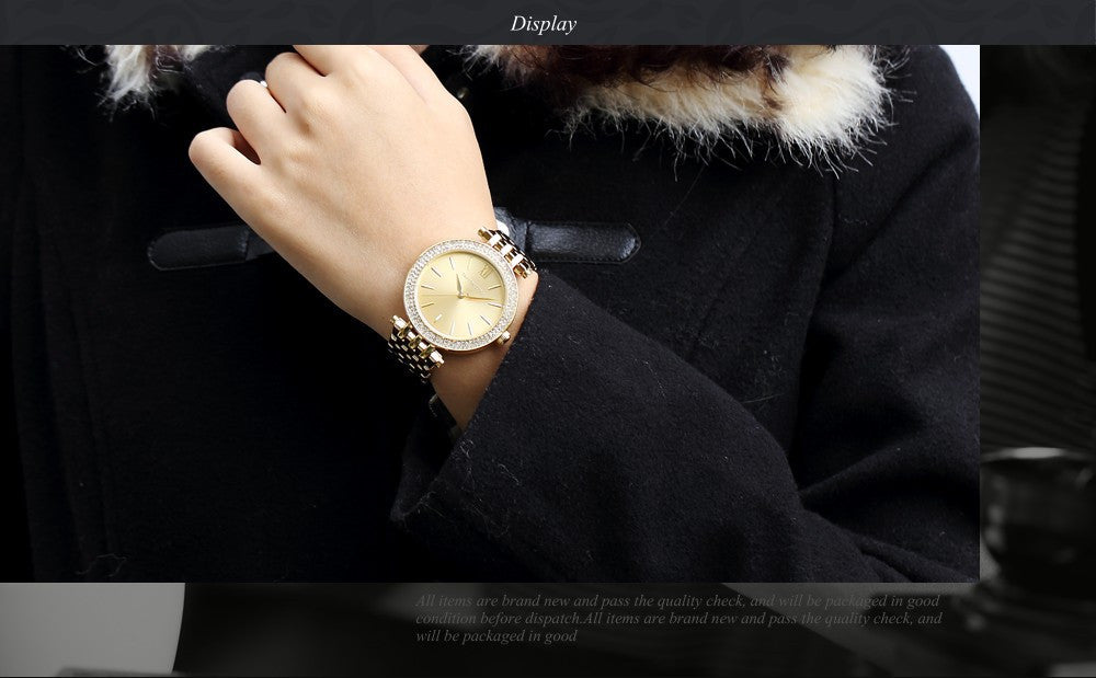 Taylor Cole Luxury Brand Gold Rond Bling Crystal Bezel Relogios Feminino Quartz Analog Clock Casual Women Dress Wristwatch/TC001