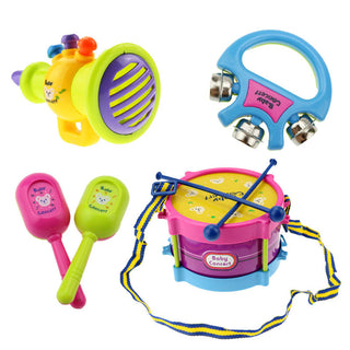 5pcs Educational Baby Kids Roll Drum Musical Instruments Band Kit Children Toy Baby Kids Gift Set Free Shipping - ShopNowBeforeYouDie.com