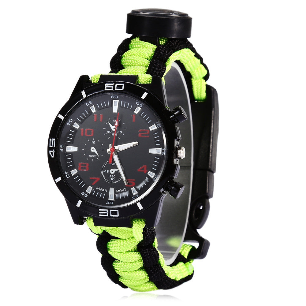 Multifunctional 6 in 1 Outdoor Survival Watch Bracelet with Compass Flint Fire Starter Paracord Thermometer Whistle (11 Colors)