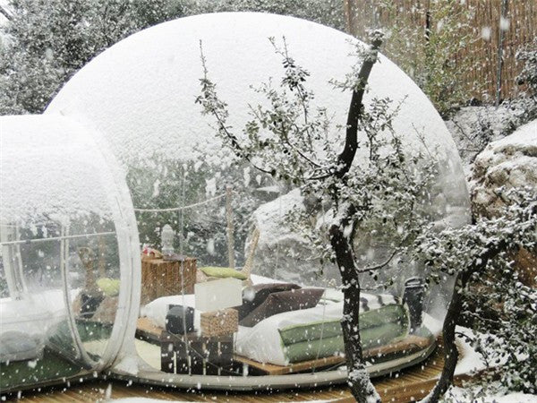 Outdoor camping clear inflatable bubble tent with tunnel - ShopNowBeforeYouDie.com