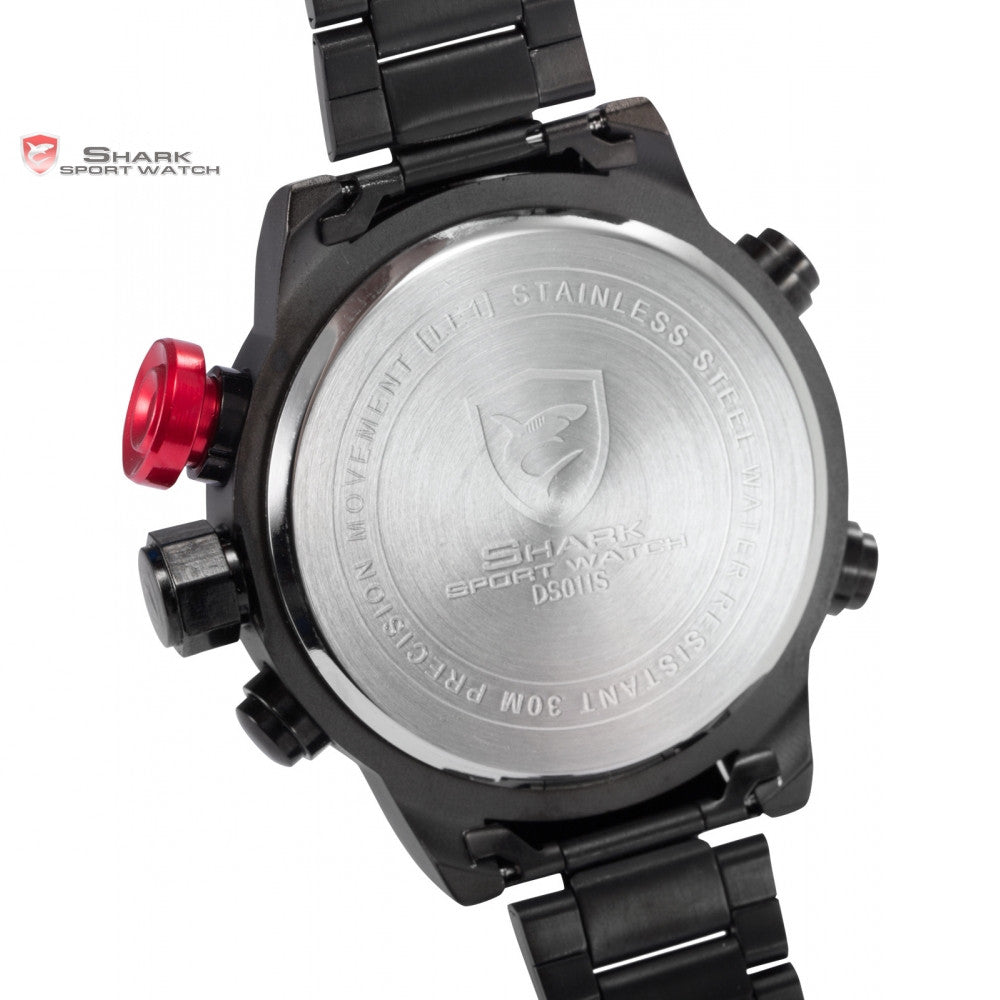 Gulper SHARK Sport Watch Series Digital LED Stainless Full Steel Black Red Date Day Alarm Men's Quartz Military Watches - ShopNowBeforeYouDie.com