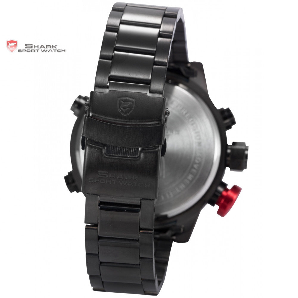 Gulper SHARK Sport Watch Series Digital LED Stainless Full Steel Black Red Date Day Alarm Men's Quartz Military Watches