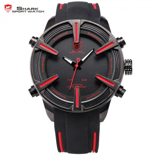 Dogfish Shark Brand Digital Watches Auto Date LED Black Red Silicone Strap Relogio Sport Military Men Quartz Wristwatch / SH384 - ShopNowBeforeYouDie.com