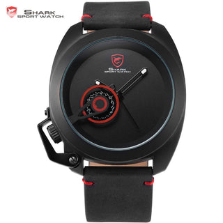 Official Release Tawny Shark Sport Watch - (Black, Special Date, Classic Design, Leather Band, Military Tag, Waterproof Quartz Men Watches / SH448 ) - ShopNowBeforeYouDie.com