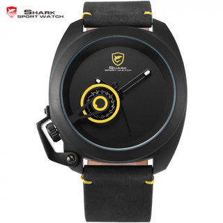 Official Release Tawny Shark Sport Watch - (Yellow, Special Date, Classic Design, Leather Band, Military Tag, Waterproof Quartz Men Watches / SH448 ) - ShopNowBeforeYouDie.com