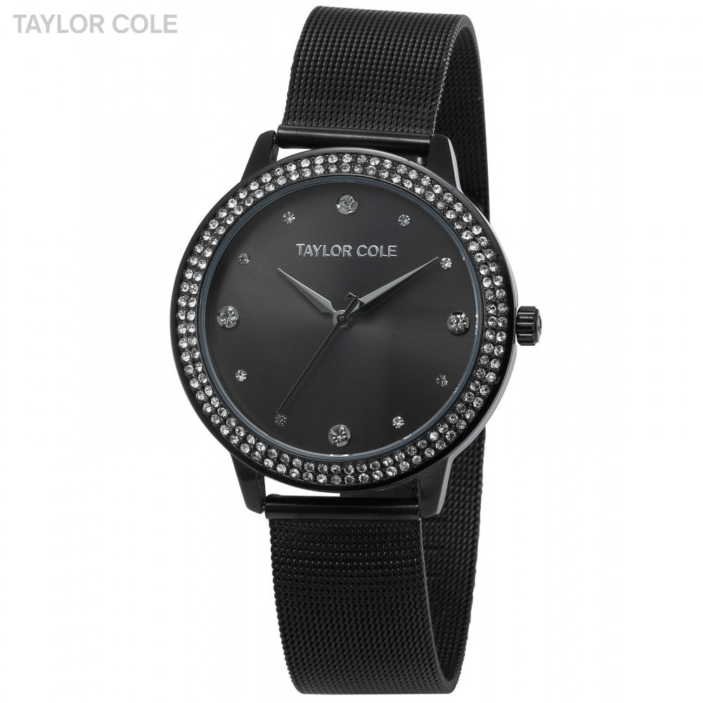 Taylor Cole Relogio Round Full Black Crystal  Slim Quartz Steel Band Bracelet Watch Women / TC073 - ShopNowBeforeYouDie.com