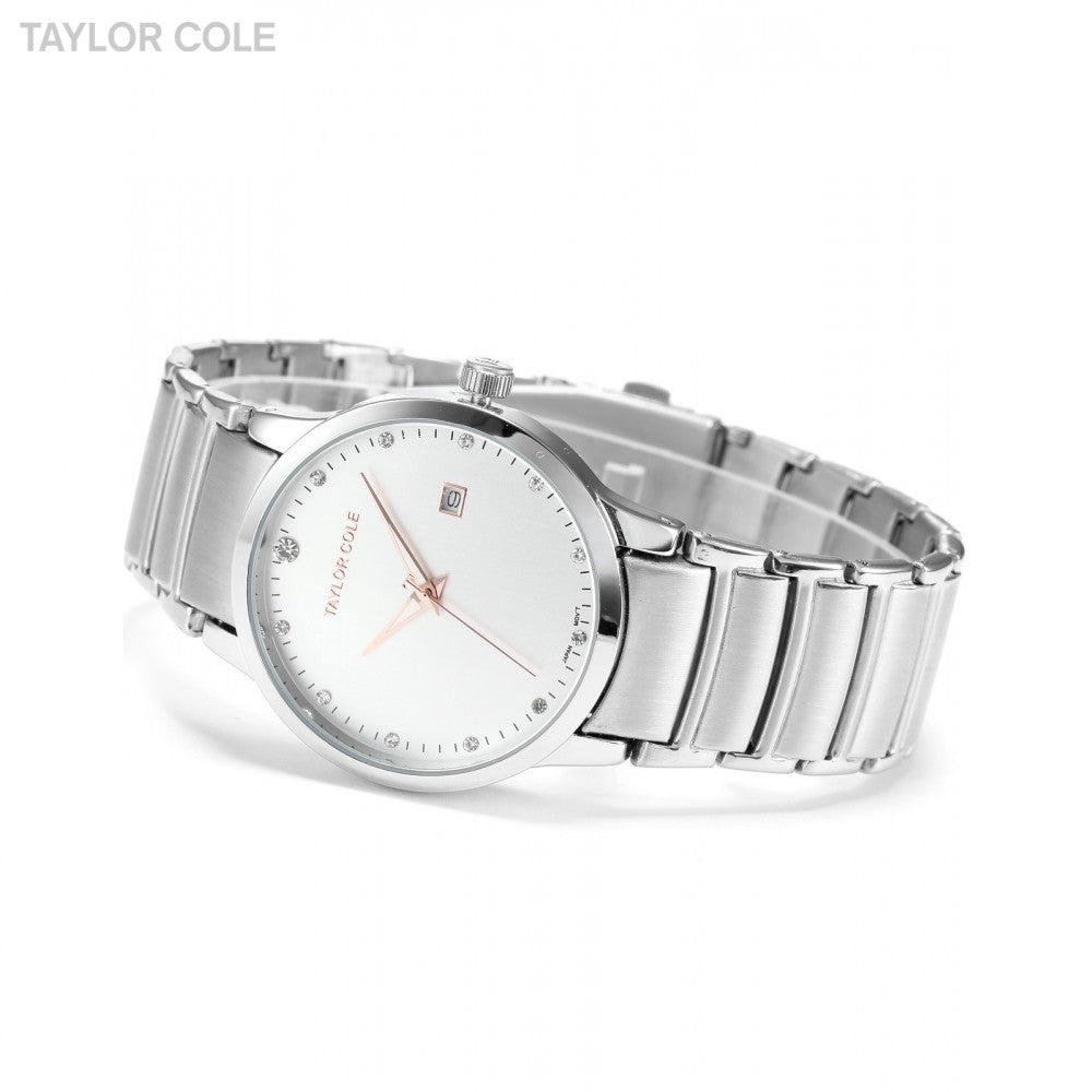 Taylor Cole Calendar Display Relogio Luminous Stainless Steel Bracelet Strap Quartz Wrist Women Crystal Dress Casual Watch/TC019 - ShopNowBeforeYouDie.com