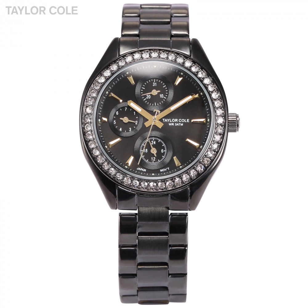 Taylor Cole Luxury Brand Date Day 24 Hours Display Black Full Steel Band Relogio Crystal Luminous Women Quartz Dress Watch/TC012 - ShopNowBeforeYouDie.com