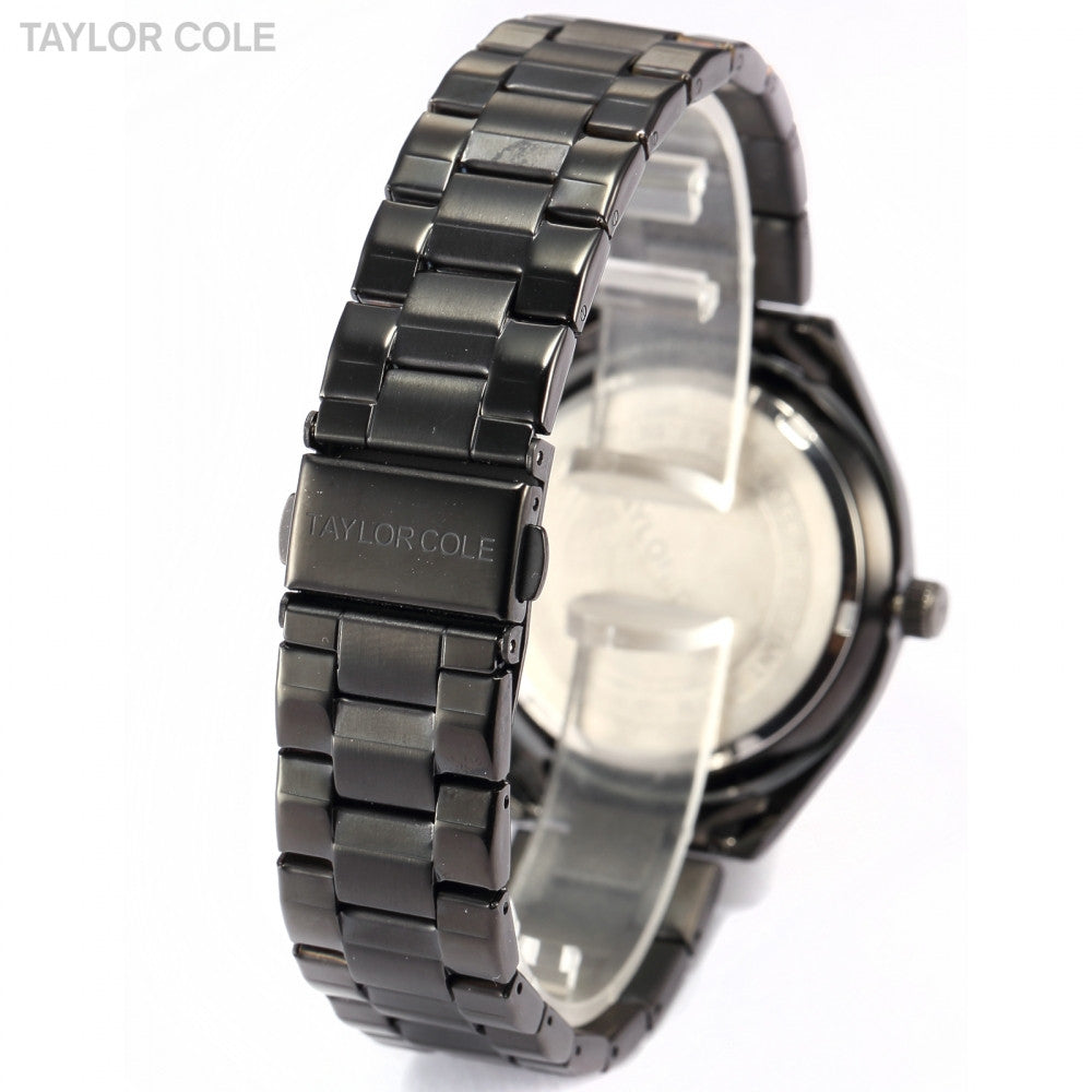 Taylor Cole Luxury Brand Date Day 24 Hours Display Black Full Steel Band Relogio Crystal Luminous Women Quartz Dress Watch/TC012
