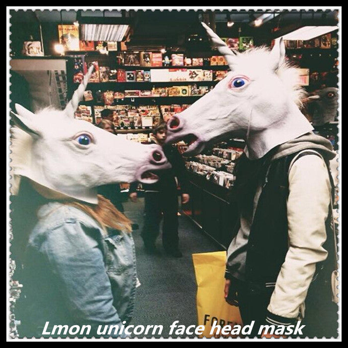 Hot!!!Creepy Horse Unicorn Mask Head Halloween Costume Theater Prop Novelty Latex Rubber Party Animal mask - ShopNowBeforeYouDie.com