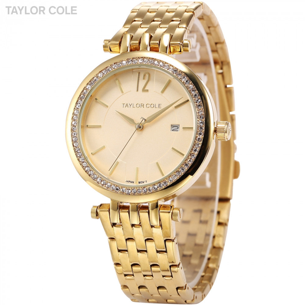 TAYLOR COLE Calendar Display Crystal Clock Gold Stainless Steel Band Crystal Analog Quartz Women's Dress Wrist Watches / TC016 - ShopNowBeforeYouDie.com