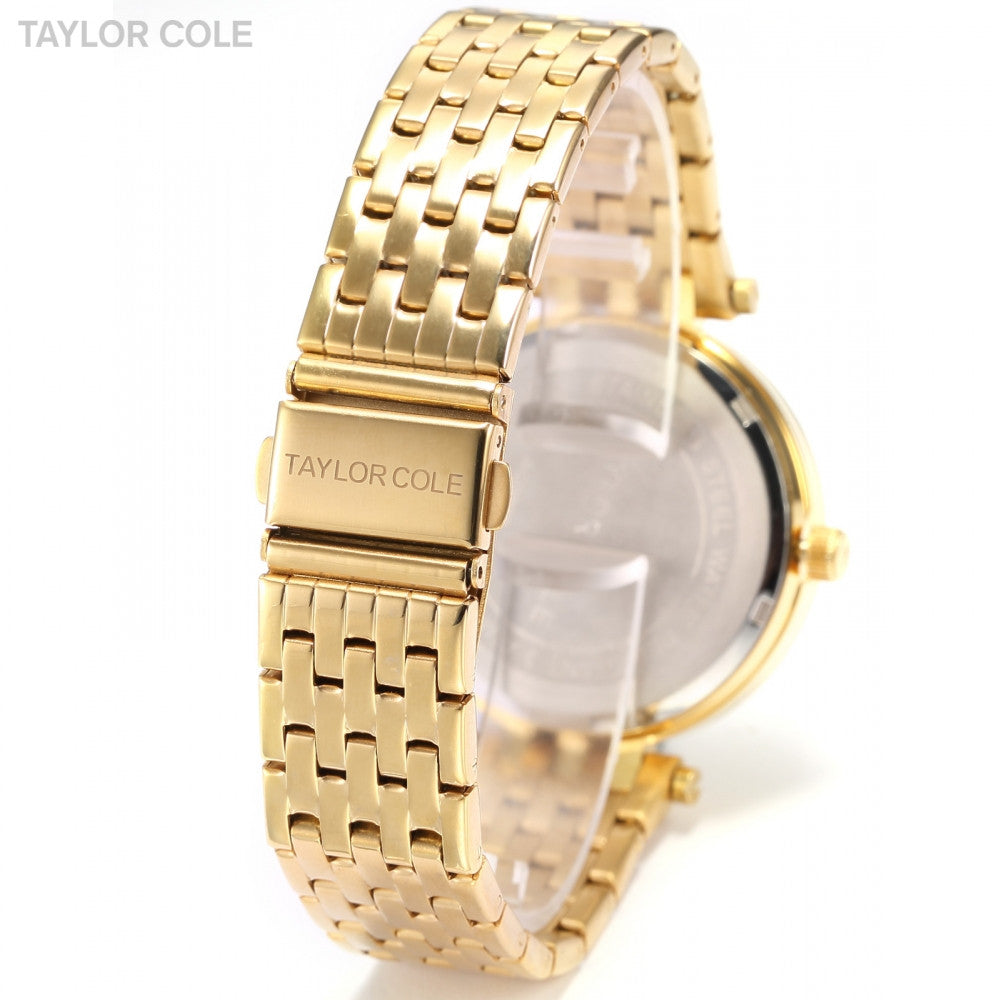 TAYLOR COLE Calendar Display Crystal Clock Gold Stainless Steel Band Crystal Analog Quartz Women's Dress Wrist Watches / TC016